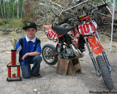 Bryce Wadge from Stonewall with his KTM and his latest trophy.