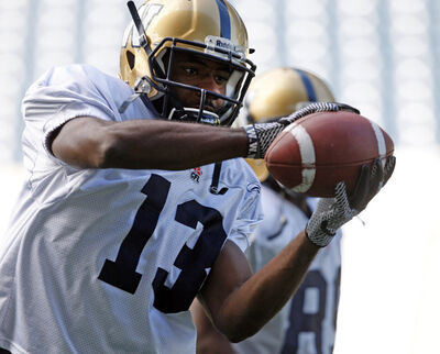 Chris Matthews makes a catch before pulling out of practice today.