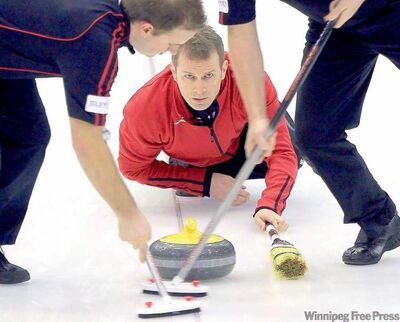 Jeff Stoughton during the final of the Manitoba men's curling championship against  top seeded Mike McEwen