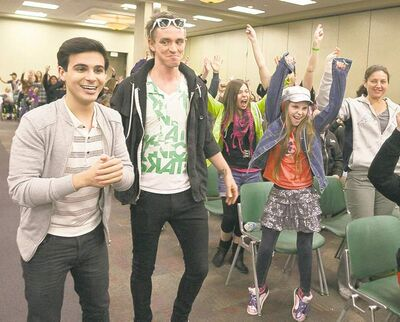 Host Adamo Ruggiero, of Degrassi the Next Generation fame, and judge Mark Spicoluk get the crowd pumped during registration for the show.