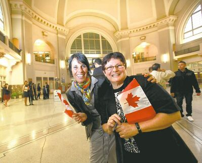 Maria Pol (left, from Argentina) and Rita Prokopetz (from Brazil)  in the Via Rail Station, a starting point for many early immigrants to Winnipeg. 'We are true believers that we create our future,' Pol says of herself and her husband.