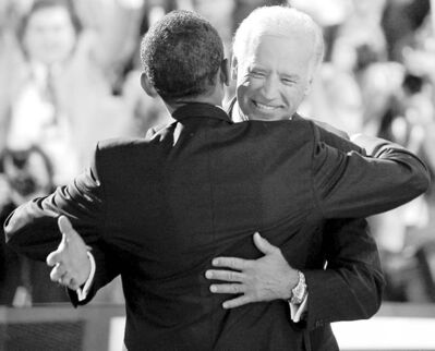Barack Obama  embraces Joe Biden