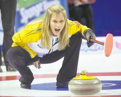 Ryan Remiorz / The Canadian PressManitoba skip Jennifer Jones yells instructions during action against P.E.I. at the Scotties Tournament of Hearts in Kingston, Ont., on Saturday afternoon.
