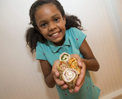 Pinwheel sandwiches can brighten up an otherwise mundane school lunch.