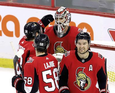FRED CHARTRAND / THE CANADIAN PRESS</p><p>Ottawa Senators goaltender Anders Nilsson (31) celebrates a win over the Winnipeg Jets with teammates Rudolfs Balcers (38) Maxime Lajoie (58) and Mark Stone (61) in Ottawa Saturday. It will likely take a king's ransom for a team to land Stone.</p>
