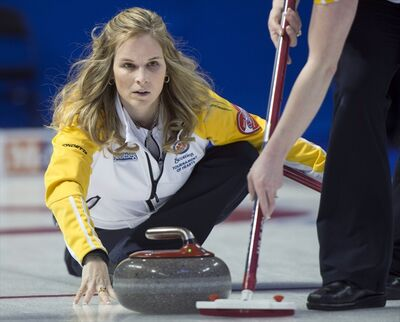 Jennifer Jones takes a shot during against Nova Scotia at the Scotties Tournament of Hearts Monday in Kingston, Ont. Jones and her Manitoba team won 11-4.