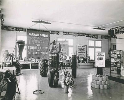 Inside the Moline Tractor Company showroom on Riverton Ave., circa 1944.
