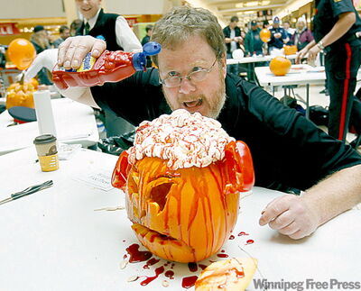 Doug Speirs finishes off his creation.