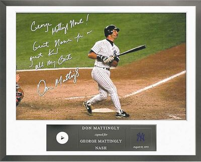 Egraphs / the associated pressThis undated photo provided by Egraphs shows an Egraph signed by former New York Yankees baseball player Don Mattingly. Egraphs, launched at the All-Star break, is a technological breakthrough that offers an autographed digital picture with a handwritten note and a personalized audio message for $50.