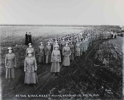 Winnipeg Women's Volunteer Reserve at Kinalmeaky Farm, Headingley, October 1915, with Dr. Douglass in the foreground.