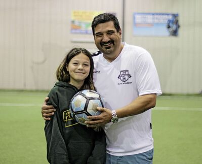 FC Northwest player Jillian Bellino (left) and her dad John, who is a coach and board member, are excited to be back on the soccer pitch as part of Stage 1 of the Manitoba Soccer Association's Return to Participate plan.