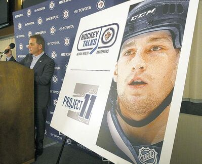 Craig Heisinger of the Winnipeg Jets speaks Monday about Project 11, an education plan for youth in Manitoba that focuses on positive mental-heath awareness.