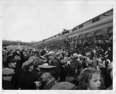 The Queen's Own Cameron Highlanders depart for training on May 24, 1940.