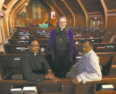 FROM LEFT: Charles Kahambu, Mary Lysecki and Qaiser Bahtti are involved in an interfaith prayer service commemorating the UN International Day of Peace.