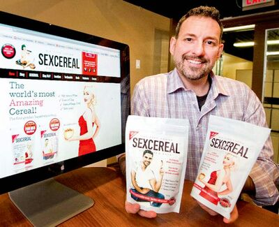 Peter Ehrlich came up with the concept of Sexcereal while walking through a vegan food fair.