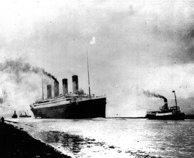FILE - In this April 10, 1912 file photo, the luxury liner Titanic departs Southampton, England, prior to her maiden Atlantic voyage en route to New York City.