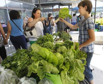 Gabriela Klimes (left) purchases chard from Stephanie Steele at one of the twenty vendors set up for the first day of the Downtown Winnipeg Farmers' Market in the Manitoba Hydro Place Plaza July 4.