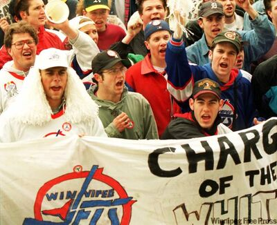 Save the Jets Rally at Portage and Main, April 28, 1995. No similar passion exists in Arizona.