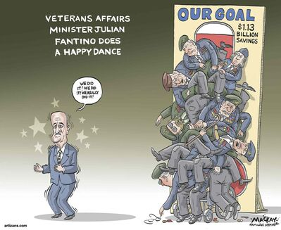 """Friday November 21, 2014  Over $1.1 billion in unspent funds at Veterans Affairs since 2006  Veterans Affairs Canada has returned $1.13 billion to the federal treasury in unspent funds since the Conservatives came to power in 2006 � cash that critics say should have gone toward improved benefits and services.                            The figure, which surfaced this week in the House of Commons, has led to renewed criticism of the Harper government, which is already smarting over its frayed relations with disgruntled former soldiers.                            Data tabled in the House in response to a written question shows roughly one-third of the so-called lapsed funds were handed back between the 2011 and 2013 budget years when the government was engaged in a massive deficit-cutting drive.                            The Conservatives often trumpet how much the budget for veterans care has gone up under their watch � right now it's about $3.4 billion a year, up from $2.8 billion when the Tories took office.                            What they don't say is that anywhere between 4.7 per cent and 8.2 per cent of the total allocation has been allowed to lapse because of the department's inability or reluctance to spend it all, said NDP veterans' critic Peter Stoffer.                            Veterans Affairs Minister Julian Fantino met Wednesday in Quebec City with select organizations representing ex-soldiers, but some of the loudest critics of the department's spending on benefits and services were not invited.                            On Tuesday, Stoffer put a pointed question about the lapsed funds to Fantino, who answered by tallying up the government's total spending on the veteran's department � roughly $30 billion since 2006.                            """"It means improved rehabilitation for Canadian veterans,"""" Fantino said. """"It means more counselling for veterans' families. It means more money for veterans' higher education and retraining. It means"""