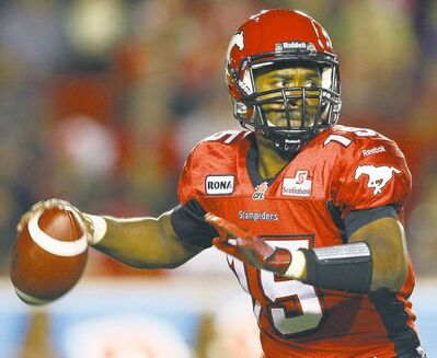 FULL CLOSE CUT CLOSECUT - Calgary Stampeders quarterback Kevin Glenn looks for a receiver during first quarter CFL football action against the Edmonton Eskimos in Calgary, Alta., Friday, Sept. 28, 2012. THE CANADIAN PRESS/Jeff McIntosh