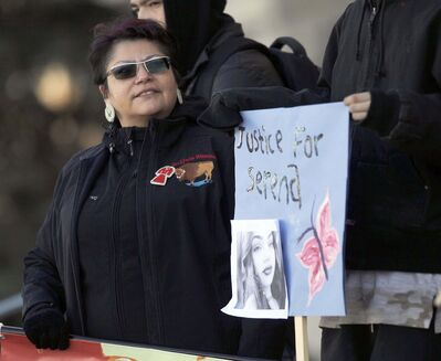 Serena's mother, Delores Daniels, was among the marchers. (Phil Hossack / Winnipeg Free Press)</p>