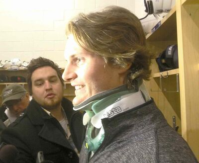 Tim Campbell / Winnipeg Free PressJets defenceman Jacob Trouba meets with media Saturday. The 19-year-old�s health, and sense of humour, are fine.