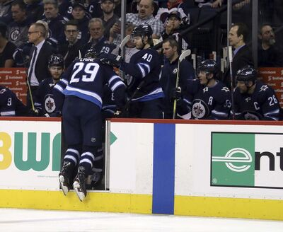 </p><p>Patrik Laine leaves the ice after getting hurt against the Los Angeles Kings Tuesday night. (Trevor Hagan / The Canadian Press)</p>