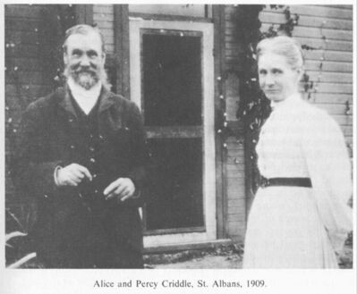 Alice and Percy Criddle at their homestead in 1909.