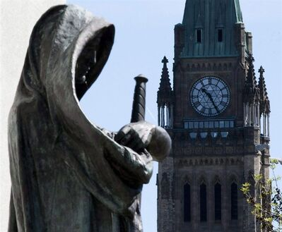 "The statue ""Truth"" guards the entrance of the Supreme Court of Canada in Ottawa on May 7, 2010. THE CANADIAN PRESS/Sean Kilpatrick"