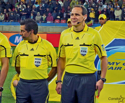 Winnipegger Hector Vergara pictured moments before he was set to pick up his flag and officiate at the recent FIFA World Cup in South Africa as an assistant referee.
