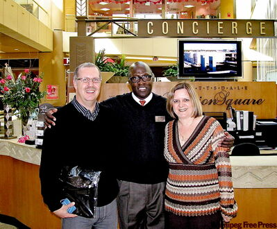 Steve and Toula Lyons with Peter Harden, the 'Mayor of the Square'