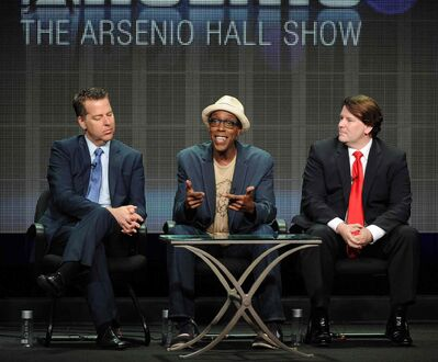"From left, executive producer Neal Kendall, host/executive producer Arsenio Hall and executive producer John Ferriter participate in the ""The Arsenio Hall Show"" panel at the 2013 CBS Summer TCA Press Tour at the Beverly Hilton Hotel in Beverly Hills, Calif. CBS Television Distribution says The Arsenio Hall Show is going off the air."