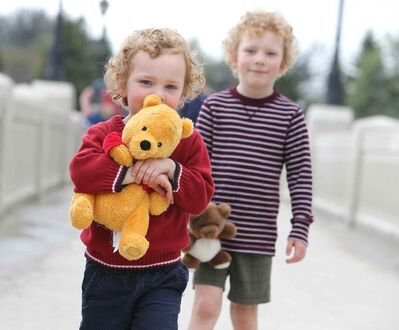 Brendan McCorkell, 3, and brother Matthew, 6, arrive for the 28th annual Teddy Bears Picnic at Assiniboine Park Sunday. The event is a fundraiser for the Children's Hospital Foundation of Manitoba. Photo by Jason Halstead/Winnipeg Free Press