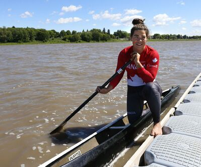 WAYNE GLOWACKI / WINNIPEG FREE PRESS Nadya Crossman-Serb, a rising Winnipeg paddler in a C1 canoe on the Red River by the Winnipeg Canoe and Kayak Centre. She recently won her first World Cup gold in women's C2.</p>