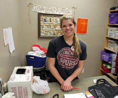Bisons women's hockey player Kristin Cockerill is a regular volunteer at Siloam Mission, but this is her rookie season in the clothing store.