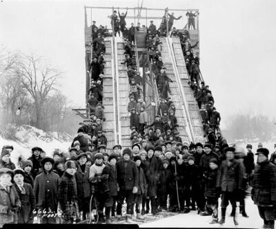 The Free Press carriers'  toboggan party at River Park, Osborne Street and  Churchill Drive, 1919.