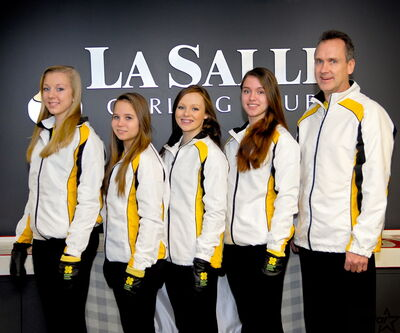 Skip Kayla Curtis (from left), third Jordyn McIntyre, second Sara Oliver, lead Rachel Morris, and coach Ken Curtis will be wearing Manitoba's colours at the Optimist International Under-18 Curling Championships later this month in B.C.