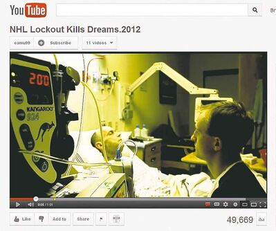 YouTube / the canadian pressIn this screengrab from YouTube, John Dick sits by his father Bruce in a Leduc, Alta., hospital room.