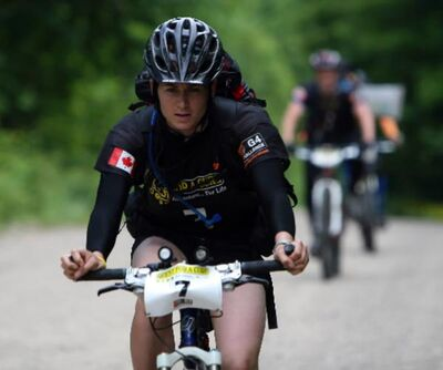 Competitor Catherine Alleyn-Dornn giving her all on the bike.