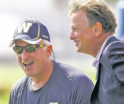 Bombers CEO Garth Buchko (right) and GM Joe Mack hope to have more smiles than frowns as franchise embarks on new era.