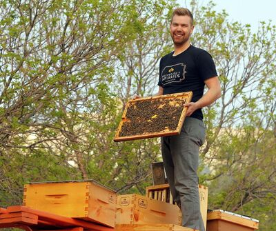 BORIS MINKEVICH / WINNIPEG FREE PRESS</p><p>Chris Kirouac with a bee hive on top of the train car where they will be mounted.</p>