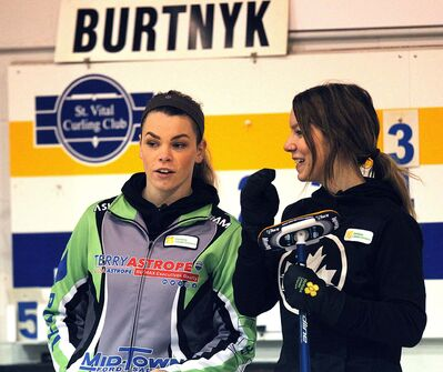 PHIL HOSSACK / WINNIPEG FREE PRESS</p><p>Skip Laura Burtnyk (left) and her third Hailey Ryan. Their fathers Kerry and Jeff won the world curling title together in 1995. </p>