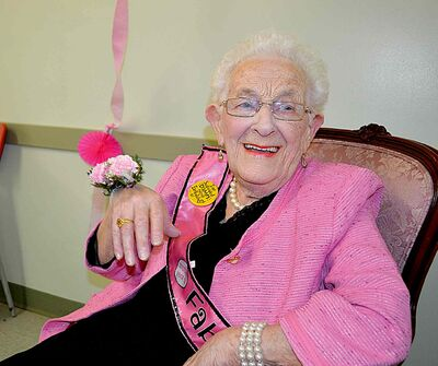 Longtime Fort Garry resident Doris Siddle happily greeted and shook hands with all who attended her 100th birthday party on Feb. 24.