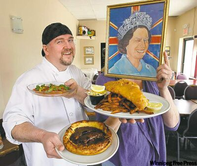 Kelly Hiebert, left, with Toad in the Hole (foreground) and chili cream dumplings; 'Her Majesty' Sally Mann holds fish and chips.