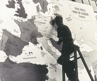 SUBMITTED PHOTOAlex Ritchie updated the Free Press war map, 1943-1945.