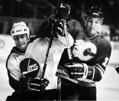 In 1985, Perry Turnbull and the Jets eliminated Tim Hunter and the Flames in a best-of-five series, three games to one.