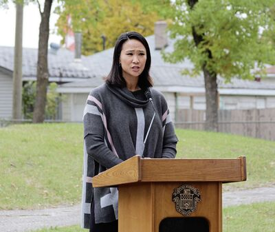 Coun. Vivian Santos (Point Douglas) speaks at a ground-breaking event in September 2020 to welcome the redevelopment of Bluebird and Lismore parks in Brooklands, which she will continue to focus on in 2021.