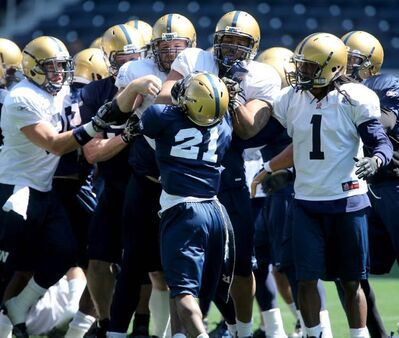From left, Winnipeg Blue Bombers' Michel-Pierre Pontbriand (39),  JT Gilmore (91), Justin Sorensen (68), Alex Suber (21), Shannon Boatman (60), and Kito Poblah (1) were involved in an altercation during practice that appeared to start with Kenny Mainor hitting Steve Morley across the face. Earlier in practice, Jameze Massey (80), and Quintin McCree (70), were also involved in another altercation during an eventful day at Investors Group Field.