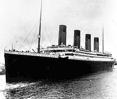 In this April 10, 1912, file photo, the liner Titanic leaves Southampton, England on her maiden voyage. Nearly 100 years after the Titanic went down, a cruise with the same number of passengers aboard is setting sail to retrace the ship's voyage, including a visit to the location where it sank. The Titanic Memorial Cruise is set to depart Sunday, April 8, 2012, from Southampton, where the Titanic left on its maiden voyage.