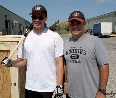 Jeremy Wiebe (left) is a member of the latest crop of baseball players to earn spots on post-secondary teams with the help of Andrew Halpenny at Rookies.